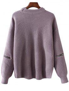 Plus Size Cut Out Chuky Choker Sweater LIGHT PURPLE: Sweaters ONE ...