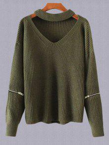 Más El Tamaño De Cuello En V Suéter Gargantilla - Verde Del Ejército
