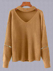 Plus Size Cut Out Chuky Choker Sweater - Earthy