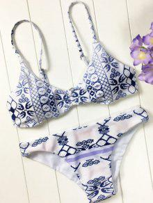 Blue And White Porcelain Cami Bikini - Blue And White L