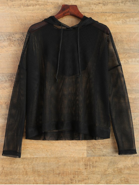 new Hooded Sheer Mesh Top - BLACK XL
