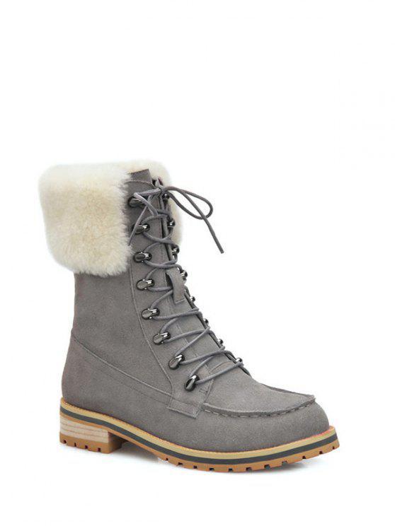 shop Tie Up Metal Faux Fur Short Boots - GRAY 38