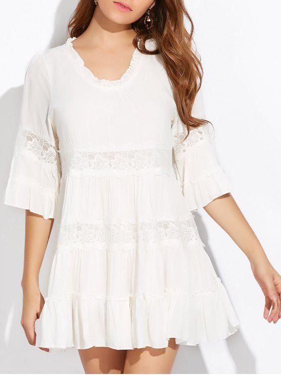 Mini Vestido Tunica en Capas Inserto Encaje - Blanco Única Talla