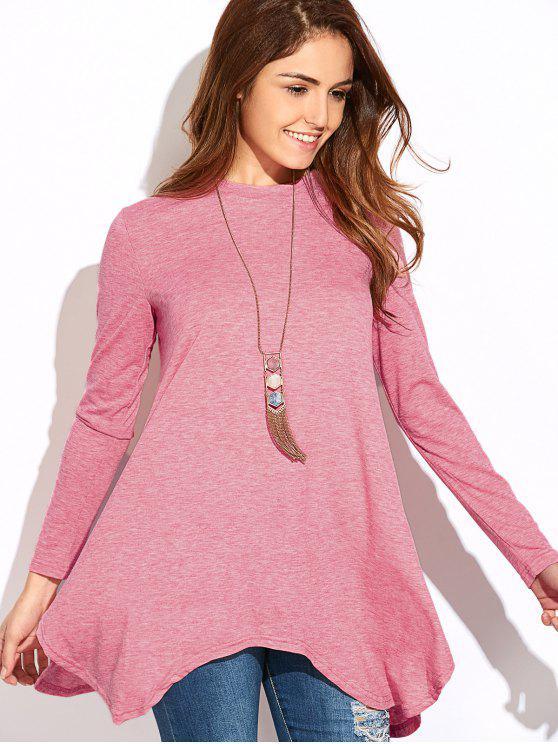 women Baggy Asymmetric T-Shirt - PINK S
