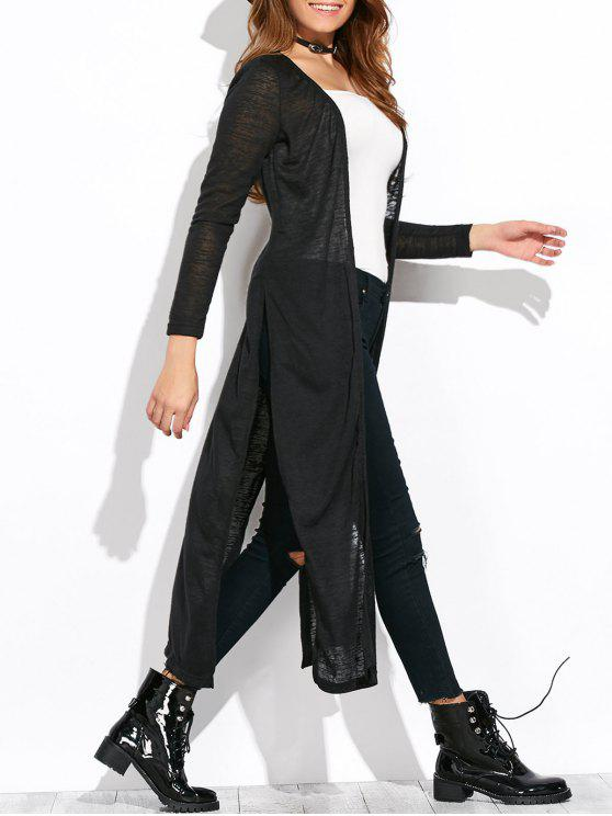 sale Open Stitch Side Slit Duster Cardigan - BLACK XL