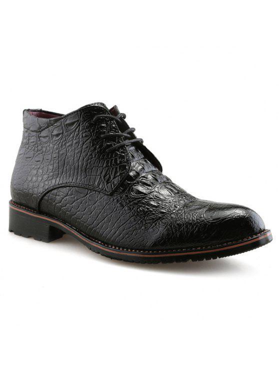 التعادل حتى بو الجلود تنقش الأحذية - أسود 41
