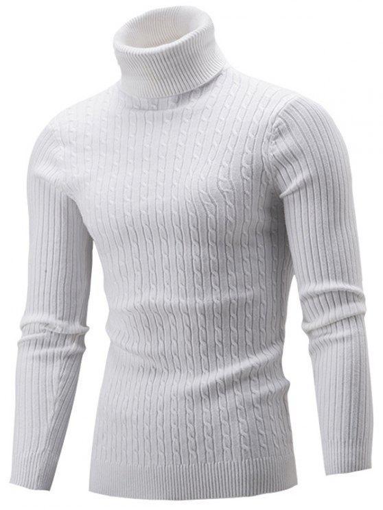 سليم صالح كابل متماسكة الياقة المدورة سترة - أبيض XL
