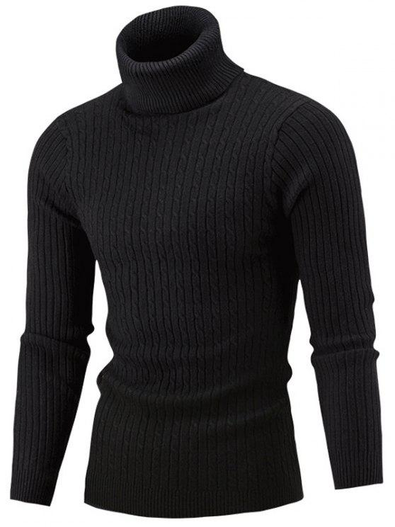 151a7007531 28% OFF  2019 Slim Fit Cable Knit Turtleneck Sweater In BLACK