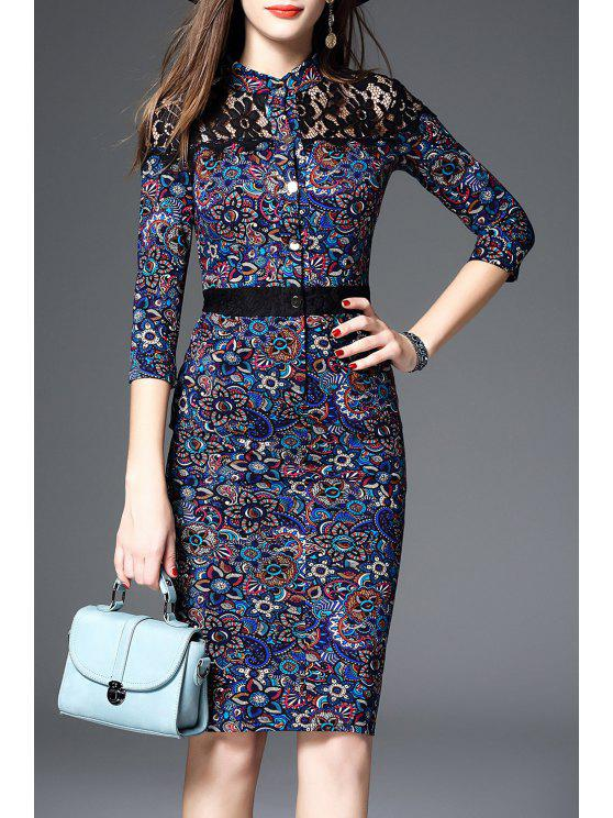 latest Lace Panel Midi Pencil Dress - MULTI S