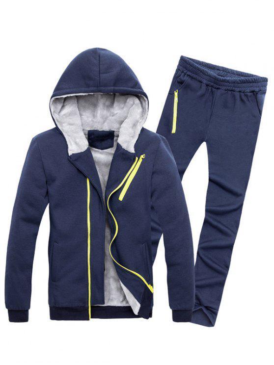 Bloco Zipper adornadas Cor Hoodie Twinset - Cadetblue M