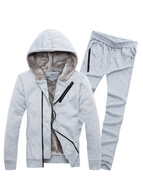 Bloco Zipper adornadas Cor Hoodie Twinset - Cinza Claro 3XL