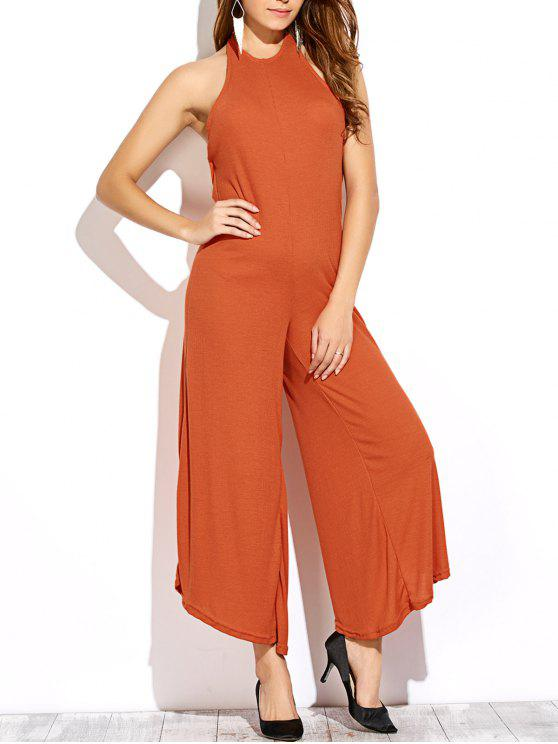 hot Backless Halter Flared Jumpsuit - DARKSALMON M