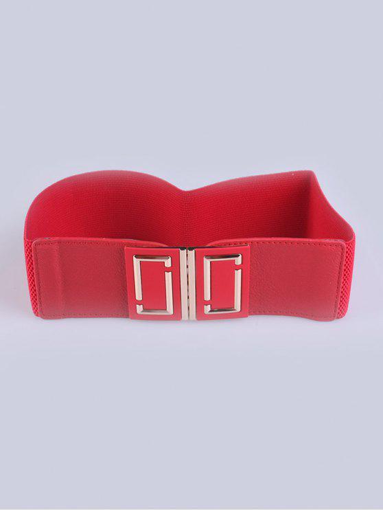 Capa del desgaste de la hebilla elástico ancho cinturón - Rojo