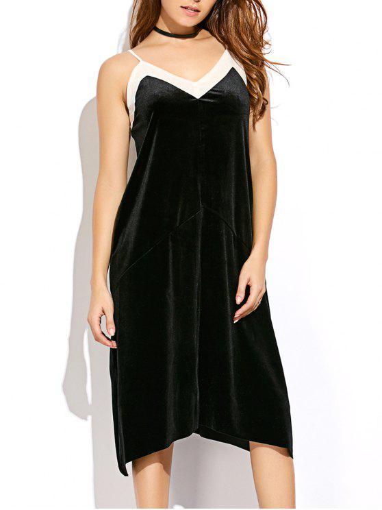 فستان شبكي التريم مخلي كامي - أسود L