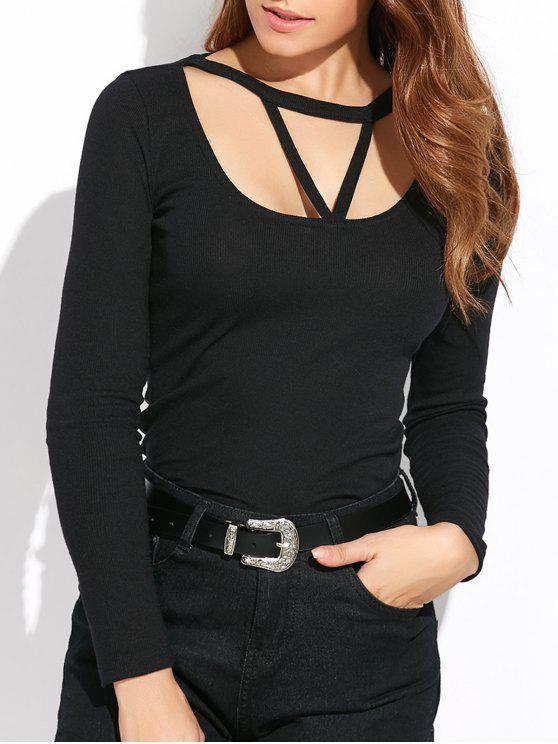 sale Scoop Neck Strappy T-Shirt - BLACK M