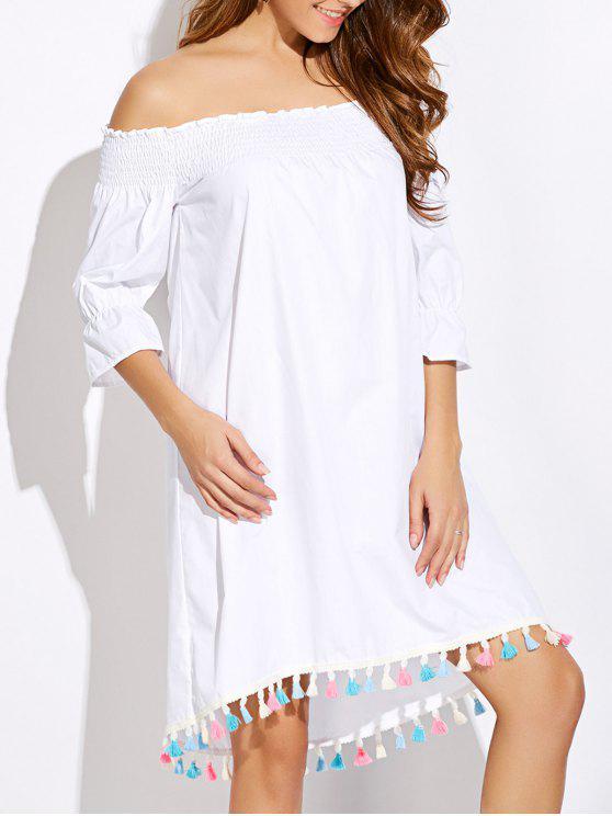 Off épaule Tassel Smock Dress - Blanc L