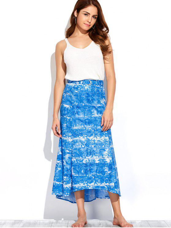 shop Printed Maxi Skirt - BLUE AND WHITE XL