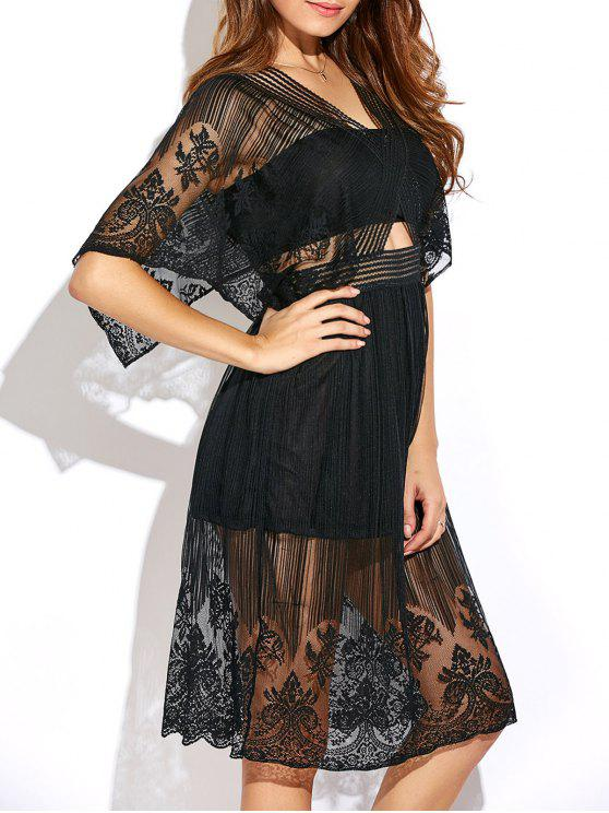 fashion Cutout Waist Lace Dress - BLACK 2XL