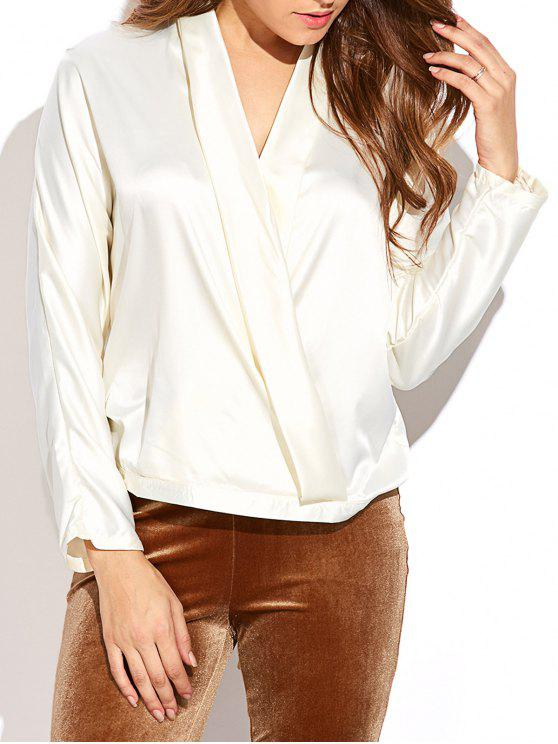 27% OFF  2019 Batwing Sleeve Satin Surplice Blouse In WHITE S  c1867614f