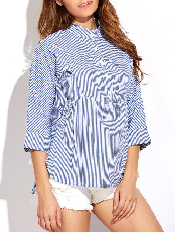 hot Striped Buttoned Oversized Blouse - BLUE AND WHITE 2XL