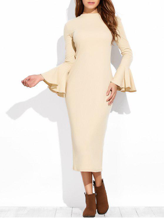 chic Bell Sleeve Midi Pencil Dress - APRICOT S