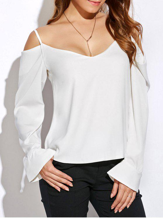 V cuello Cold Shoulder Top de manga larga - Blanco L