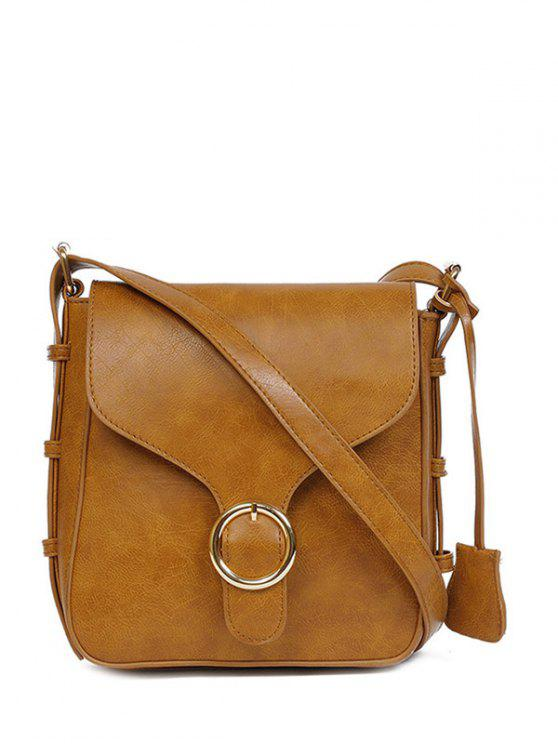 hot Buckle PU Leather Cross Body Bag - BROWN