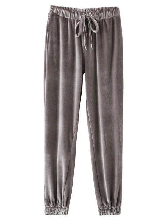 women Velour Drawstring Sweatpants - GRAY S