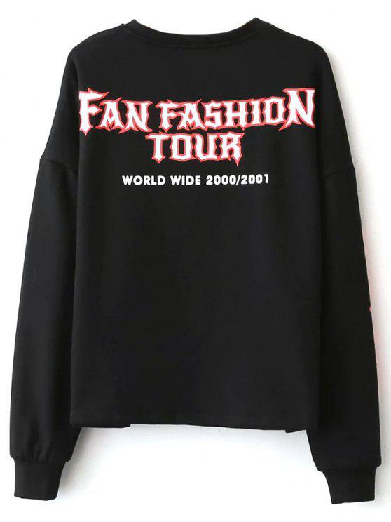 hot Graphic Pattern Jewel Neck Sweatshirt - BLACK S