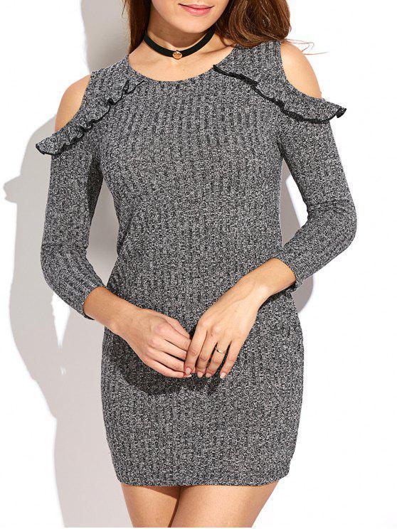 Cold Shoulder Flounce Mini Sweater Dress GRAY