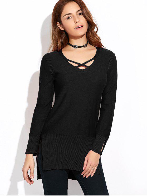 fancy Long Loose High-Low Sweater - BLACK S
