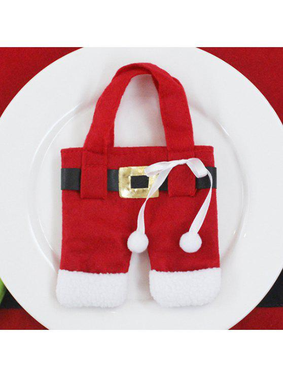 trendy Christmas Santa Pants Tableware Holder Bag - RED