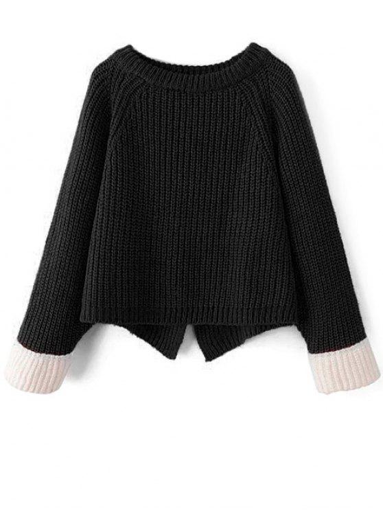 outfit Contrast Cuffs Chunky Sweater - BLACK ONE SIZE
