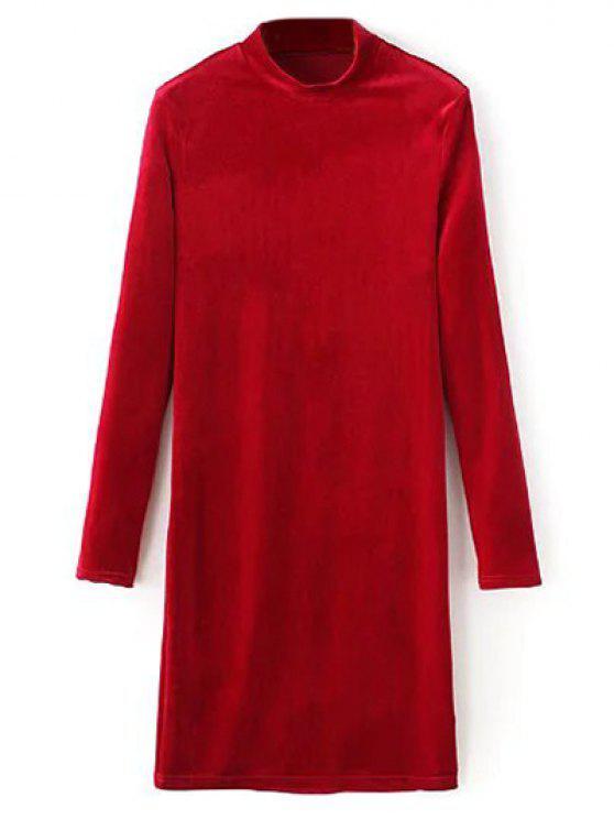 hot Mock Neck Long Sleeves Velvet Dress - RED L