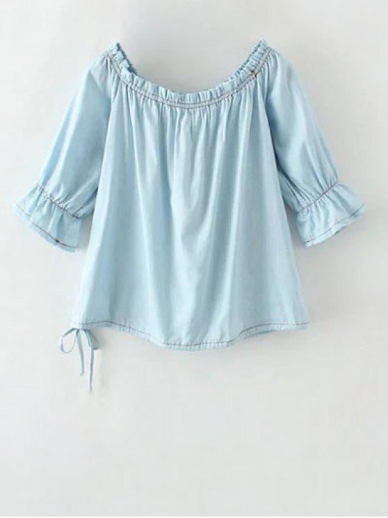 Denim Off La blusa de hombro - Azul Claro M