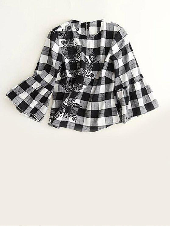 sale Bell Sleeve Embroidered Checked Blouse - WHITE AND BLACK S