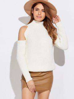 Kalte Schulter Pullover Mit Trichterhals  - Weiß