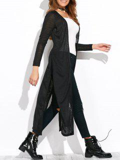 Open Stitch Side Slit Duster Cardigan - Black S