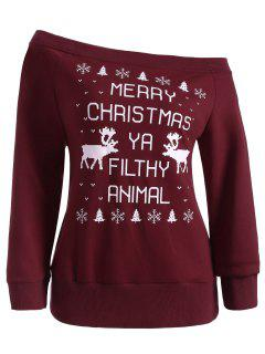 Skew Neck Christmas Snowflake Sweatshirt - Wine Red M
