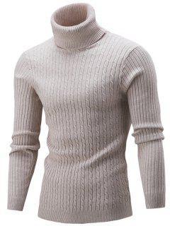 Slim Fit Cable Knit Turtleneck Sweater - Beige M