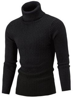 Slim Fit Cable Knit Turtleneck Sweater - Black M