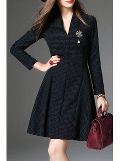 Long Sleeve Dot Print A Line Dress - Green S