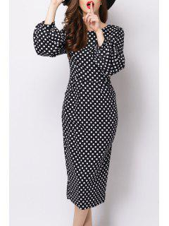 Polka Dot Long Sleeve Midi Pencil Dress - Black S