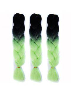 1 Pcs Heat Resistant Fiber Multicolor Ombre Braided Hair Extensions - Yellow + Gray