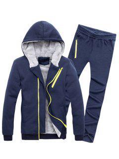 Zipper Embellished Color Block Hoodie Twinset - Cadetblue M