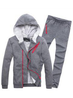 Zipper Embellished Color Block Hoodie Twinset - Deep Gray M