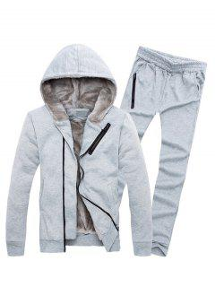 Zipper Embellished Color Block Hoodie Twinset - Light Gray L