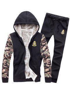 Zip Up Camo Sleeve Patch Hoodie Twinset - Black M