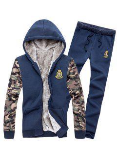 Zip Up Camo Sleeve Patch Hoodie Twinset - Cadetblue 3xl