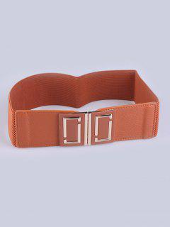 Coat Wear Buckle Elastic Wide Belt - Light Brown